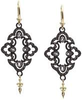 Armenta 18K Yellow Gold and Blackened Sterling Silver Old World Champagne Diamond and White Sapphire Scroll Drop Earrings