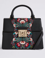 Marks and Spencer Faux Leather Embroidered Tote Bag