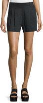Vince Solid Linen-Blend Shorts, Black