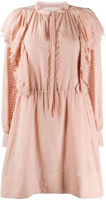 See by Chloe Lace-Trimmed Shadow Striped Dress