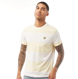 Lyle And Scott Vintage Mens Wide Stripe T-Shirt X80 Buttercream