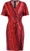 Just Cavalli Wrap-Effect Snake-Print Jersey Mini Dress