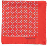Salvatore Ferragamo Gancini & Medallion-Print Pocket Square, Red