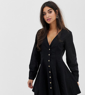 Asos DESIGN Petite denim long sleeve button through tea dress in washed black