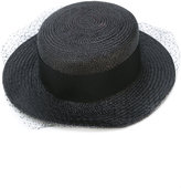 Federica Moretti net trim boater hat - women - Polyester/Straw - M