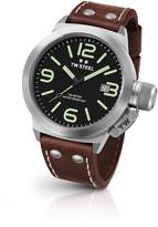 TW Steel CS22 Men's Stainless Steel Canteen Brown Leather Band Dial Watch