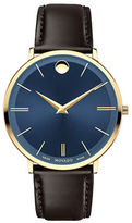 Movado Ultra-Slim Analog Leather Strap Watch