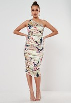 Missguided Navy Floral Stretch Satin Ruched One Shoulder Midi Dress