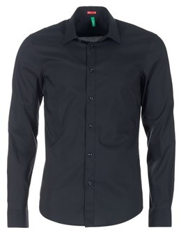 Benetton MERLO men's Long sleeved Shirt in Black