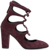 Giuseppe Zanotti Burgundy Suede Lace-Up Heels