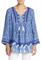 Raga Gypsy Blues Floral Tie-Neck Top