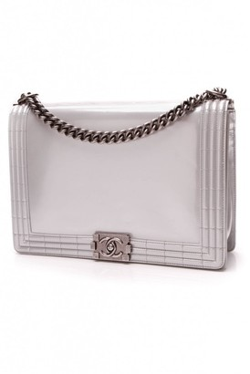 Chanel Boy Silver Patent leather Handbags