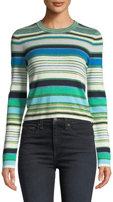 Veronica Beard Palma Striped Metallic Cropped Sweater