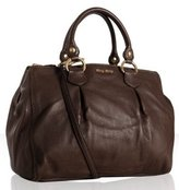 brown leather pleat detailed large tote