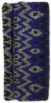 Moyna Blue Silver & Black Beaded Foldover Clutch