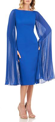 Kay Unger New York Angelia Stretch Crepe Sheath Dress w/ Pleated Chiffon Sleeves