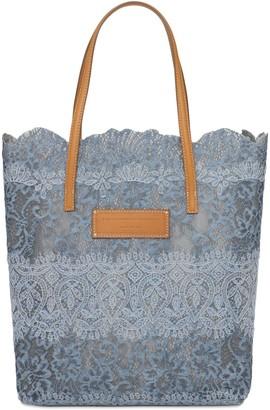 Ermanno Scervino Lace & Leather Tote Bag