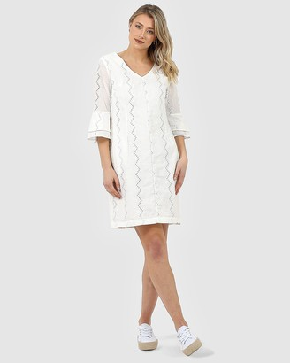 Privilege Women's White Midi Dresses - Ruffle Sleeve Dress - Size One Size, 10 at The Iconic