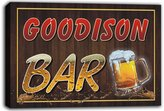 AdvPro Canvas scw3-062447 GOODISON Name Home Bar Pub Beer Mugs Stretched Canvas Print Sign