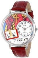 Whimsical Watches John 3:16 Burgundy Leather and Silvertone Unisex Quartz Watch with White Dial Analogue Display and Multicolour Leather Strap U-0710002