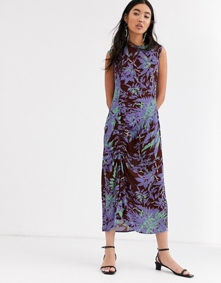 Asos palm print ruched side midi dress