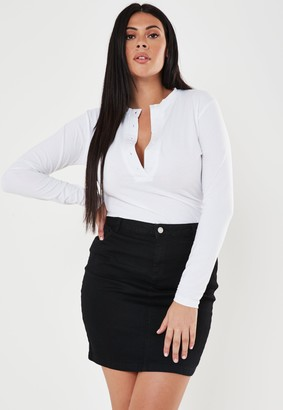 Missguided Plus Size Black Super Stretch Denim Mini Skirt