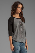 Lauren Moshi Drew Large Foil Hippie Draped Sleeve Raglan Top