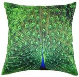 Square Peacock Printed Stuffed Cushion ChezMax Polyester Sateen Peach Stuffing Throw Pillow Insert For Bedding Bed Car Deck Chair