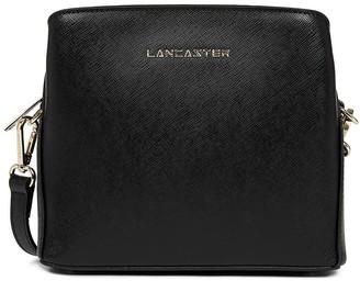 Lancaster Paris Black Saffiano Signature Zip Small Crossbody Bag