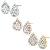 1 CT. T.W. Composite Diamond Teardrop Frame Stud Earrings in 10K White, Rose or Yellow Gold