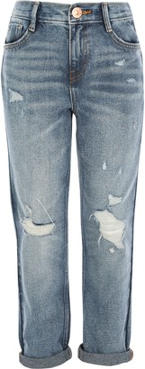 River Island Girls Blue Mom ripped mid rise jeans