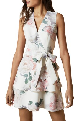 Ted Baker Dewana Floral Print Faux Wrap Dress