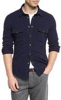 Brunello Cucinelli Western Knit Shirt Cardigan, Cobalt