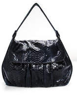Zagliani Dark Blue Snakeskin Flap Front Satchel Shoulder Handbag