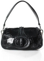 Prada Black Leather Turnlock Shoulder Handbag Size Medium