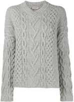 Lanvin cable knit v-neck jumper - women - Wool - S