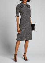 Rickie Freeman For Teri Jon Polka Dot Pintuck Chiffon A-Line Dress