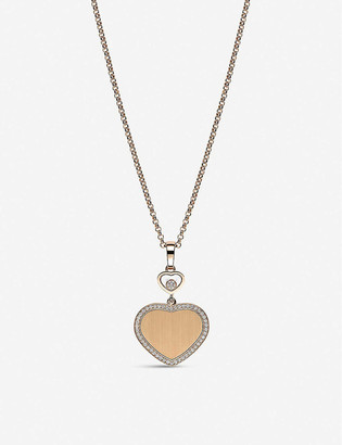 Chopard Golden Hearts 18ct rose-gold and 0.24ct white-diamond pendant necklace