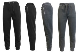 Galaxy By Harvic Men's 2-Packs Slim Fit Fleece Joggers with Zipper Pockets