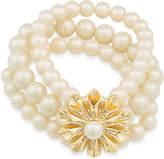 Carolee Gold-Tone Pave & Imitation Pearl Flower Stretch Bracelet