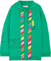Mira Mikati Oversized Printed Cotton-jersey Hooded Top - Bright green