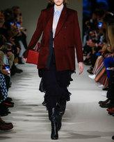 Victoria Beckham Sheer Georgette Ruffled Midi Skirt, Navy