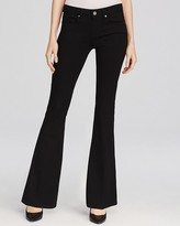 Paige Petites Lou Lou Transcend Flare Jeans in Black Shadow