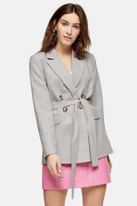 Topshop Womens Grey Belted Double Breasted Suit Blazer - Grey