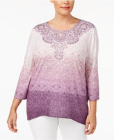 Alfred Dunner Plus Size Palm Desert Collection Printed Embellished Ombrandeacute; Top