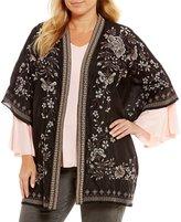 Chelsea & Theodore Plus Embroidered Open Front Kimono
