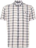 Peter Werth Men's Worker Linen Mix Checked Shirt Pale Pink