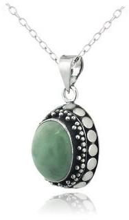 Glitzy Rocks Sterling Silver Jade Oval Necklace