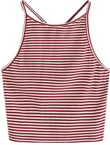 Zeshlla Sexy Women Spaghetti Strap Sleeveless Lace Neckline Stripe Summer Midriff Tank Top Crop Top S-XL (S)
