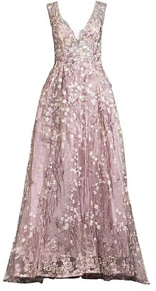 Mac Duggal Lace Floral Pleated A-Line Gown